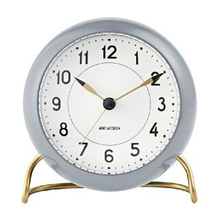 アルネヤコブセン(Arne Jacobsen)の【新品未使用】 アルネ ヤコブセン ステーション グレー 置き時計 時計 限定(置時計)