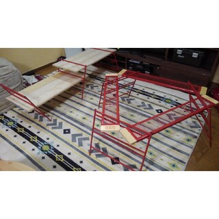 ドッペルギャンガー(DOPPELGANGER)のDOD 廃盤 カシステーブルセット レッグM プレート ワンバイ材ラック レッド(テーブル/チェア)