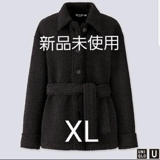 ユニクロ(UNIQLO)の新品未使用【UNIQLO】ボアフリースショートコート ブラック XL(ミリタリージャケット)