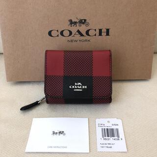 コーチ(COACH)の新品★COACH 2020年秋冬新作 三つ折り バッファロー プラッド プリント(財布)