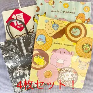 【4枚セット】キャラクター紙袋(ポケモン、ムーミン、リラックマ)(キャラクターグッズ)