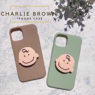 ピーナッツ(PEANUTS)の大人気♡⃜新品◆チャーリーブラウン ポップソケットiPhoneケース スヌーピー(iPhoneケース)