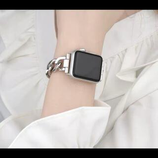 Apple Watch シングル チェーン ベルト バンド シルバー 42/44(金属ベルト)