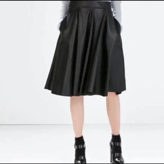 ザラ(ZARA)のZARA レザースカート 訳あり‼️(ひざ丈スカート)
