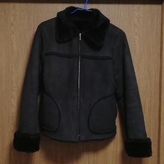 ロペピクニック(Rope' Picnic)の黒いジャケット フェイクファー ロペ ピクニック 短め チャック ショートコート(毛皮/ファーコート)
