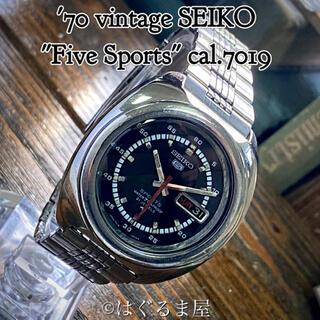 セイコー(SEIKO)の'70 vint. セイコー 5スポーツ 自動巻 メンズ ブラック OH済(腕時計(アナログ))