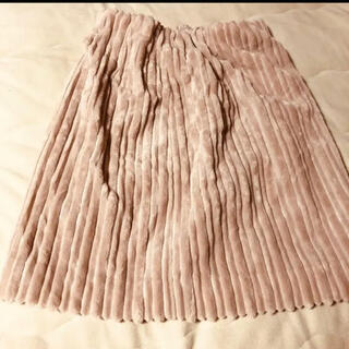 イーハイフンワールドギャラリーボンボン(E hyphen world gallery BonBon)の新品 Ehyphen ベロアプリーツスカート(ひざ丈スカート)