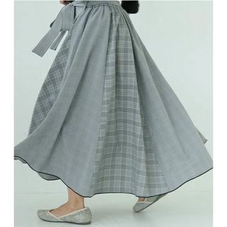 アンティカ(antiqua)のオシャレウォーカー チェック柄切り替え ロングスカート フレアスカート(ロングスカート)