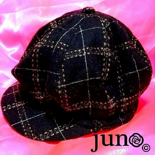 セシルマクビー(CECIL McBEE)のセシル ラメ チェック キャスケット 帽子 キャップ 黒 ブラウン 茶色(キャスケット)