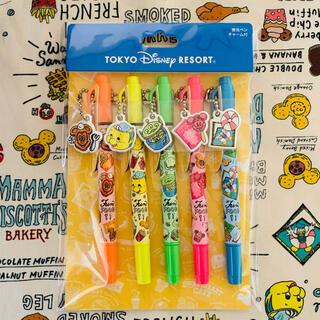 ディズニー(Disney)のディズニー リゾート パークフード 蛍光ペン チャーム 付 5本セット(ペン/マーカー)