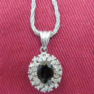 サファイヤ ダイヤモンド Pt900 チェーン Pt850 ネックレス(ネックレス)