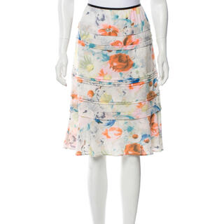 セリーヌ(celine)の新品 CELINE(セリーヌ)フラワープリントシルクスカート(ひざ丈スカート)
