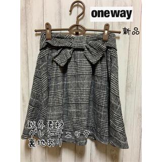 ワンウェイ(one*way)の《one way》グレンチェックミニフレアースカート新品(ミニスカート)