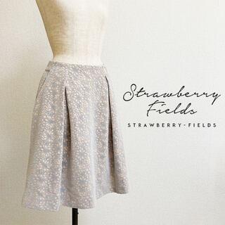 ストロベリーフィールズ(STRAWBERRY-FIELDS)のSTRAWBERRY-FIELDS☆花柄フロッキーボンディングスカート(ひざ丈スカート)