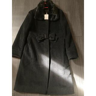 ストロベリーフィールズ(STRAWBERRY-FIELDS)のおリボンのブラックコート(ロングコート)