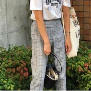 myine  チェック裾ジップスリットパンツ ブルーグレー(カジュアルパンツ)