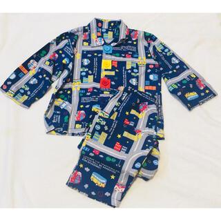 働く車のりもの長袖パジャマ100 着替え練習前ボタンシャツパジャマ (パジャマ)