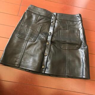 エイチアンドエム(H&M)のレザー スカート H&M(ミニスカート)