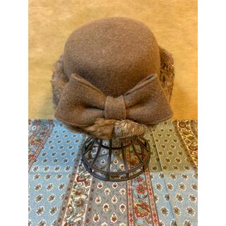 カシラ(CA4LA)のCA4LA カシラ キャメル ラビット 毛 ファー リボン 帽子 秋冬 日本製(ハット)