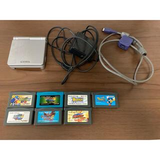 ゲームボーイアドバンス(ゲームボーイアドバンス)のゲームボーイアドバンスSP + ソフト7本 + 通信ケーブル(携帯用ゲーム機本体)
