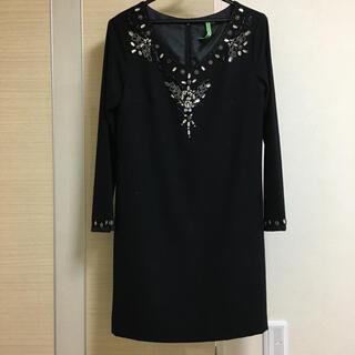 VICKY - ビッキー ビーズ刺繍 ビジュー ワンピース ドレス M ブラック 黒