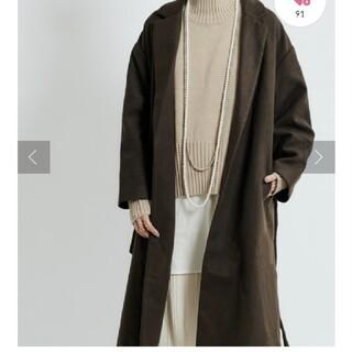 ドゥドゥ(DouDou)の襟付きコート チャコール(ロングコート)