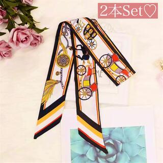 マーキュリーデュオ(MERCURYDUO)のツイリー スカーフ バンダナ 柄 馬  ネイビー 紺 2点セット バッグスカーフ(バンダナ/スカーフ)