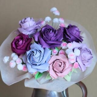 折り紙のバラの花束 紫(その他)