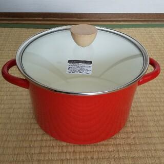 ニトリ - 早い者勝ち!ニトリ ホーロー両手鍋・赤 24cm