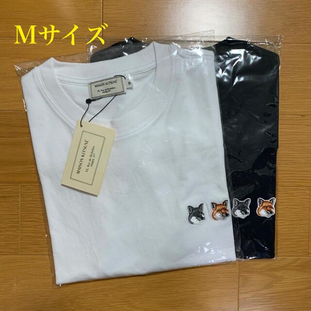 MAISON KITSUNE'(メゾンキツネ)のメゾンキツネ ダブルフォックスヘッドパッチ Tシャツ 白黒セット Mサイズ メンズのトップス(Tシャツ/カットソー(半袖/袖なし))の商品写真