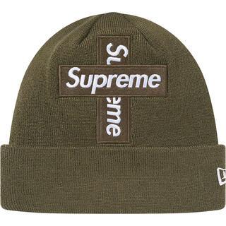 シュプリーム(Supreme)の【送料込み】Supreme Cross Box Logo Beanie オリーブ(ニット帽/ビーニー)