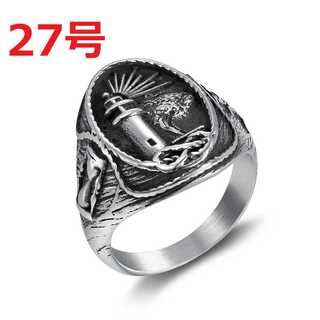 激レア ビンテージ シルバー リング 海洋 灯台 海 波 指輪 27号(リング(指輪))