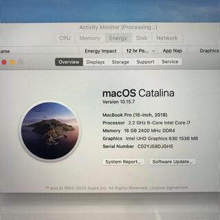 アップル(Apple)のYDMOBA様専用 MacBook Pro 2018 15インチ USキーボード(ノートPC)