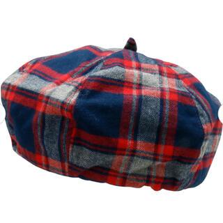 ブランシェス(Branshes)の新品 ブランシェス ベレー帽 チェック 赤 レッド ユニセックス L(帽子)