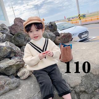 韓国子供服 ハイネックリブニットトップスセーター (ニット)