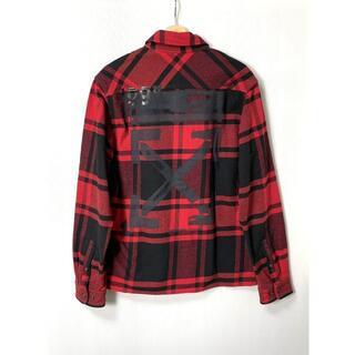 OFF-WHITE - 【H】19SS オフホワイト ステンシル アロー ネルシャツ 赤黒