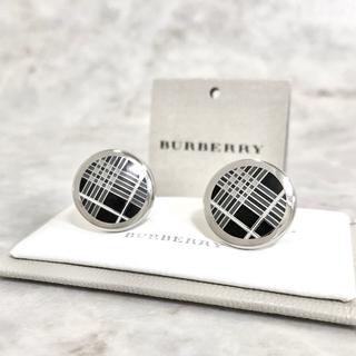 バーバリー(BURBERRY)の正規品 バーバリー カフス クラシック チェック ブラック 銀 シルバー ボタン(カフリンクス)