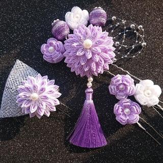 つまみ細工 髪飾り 薄紫 成人式 七五三 卒業式 前撮り#123(ヘアピン)
