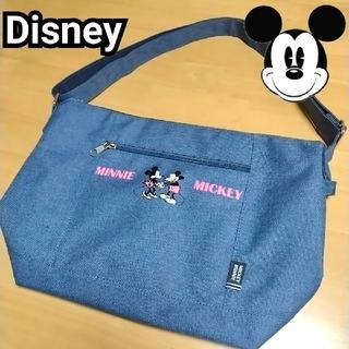 ディズニー(Disney)の【美品】Disney ディズニー ミッキー ミニー デニム風 ショルダーバッグ(ショルダーバッグ)
