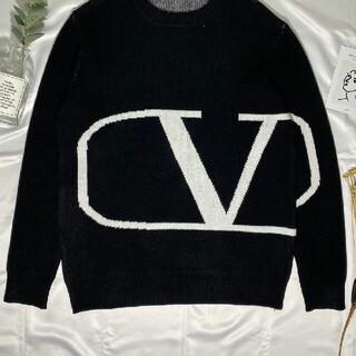 ヴァレンティノ(VALENTINO)のヴァレンティノ Valentino セーター ロゴ 黒(ニット/セーター)