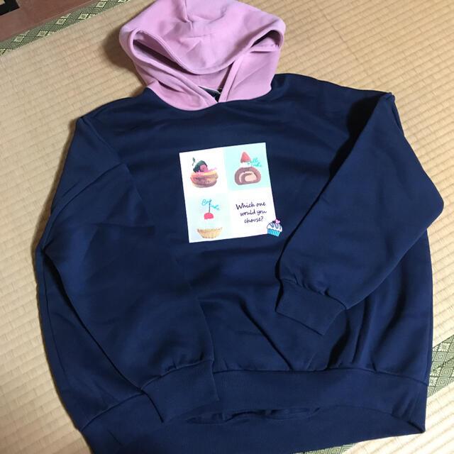 GU(ジーユー)の新品 GU GIRLS  ビッグスウェットプルパーカー 長袖 160 ネイビー キッズ/ベビー/マタニティのキッズ服女の子用(90cm~)(Tシャツ/カットソー)の商品写真