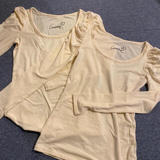 ココディール(COCO DEAL)のココディール ロンt  クリーム色 2枚セット 襟元チュール付き パフスリーブ(Tシャツ(長袖/七分))