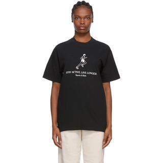 ロンハーマン(Ron Herman)のsporty & rich ブラック Live Longer T シャツ(Tシャツ/カットソー(半袖/袖なし))
