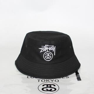 STUSSY ステューシー バケットハット ロゴ刺繍 ブラック