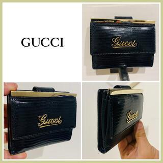 Gucci - 阪急梅田店購入■良品■本革レザー■GUCCI グッチ 財布 ゴールド  折り財布