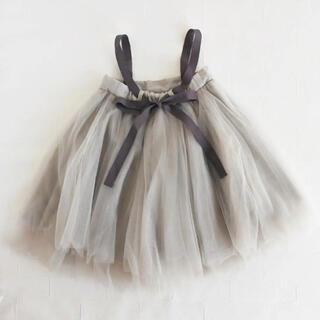 チュールワンピース グレー スカート ドレス チュチュ tutu 子ども 衣装(ワンピース)