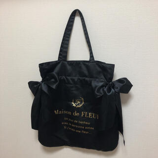 メゾンドフルール(Maison de FLEUR)のMaison de FLEUR トートバッグ 黒 サイドリボン (トートバッグ)