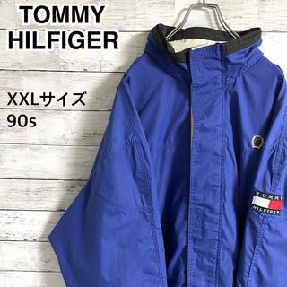 トミーヒルフィガー(TOMMY HILFIGER)の【激レア】トミーヒルフィガー☆刺繍ロゴ アームロゴ ナイロンジャケット 90s(ナイロンジャケット)