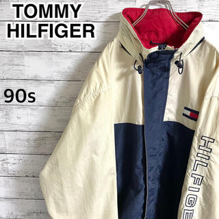 トミーヒルフィガー(TOMMY HILFIGER)の【激レア】トミーヒルフィガー☆アーム刺繍ビッグロゴ ナイロンジャケット 90s(ナイロンジャケット)