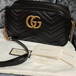 Gucci - 正規品。美品。GUCCI GGマーモント キルティング ショルダーバッグ 黒